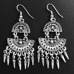 Boho Silver Earrings! Dangly w Spikes at Bottoms!